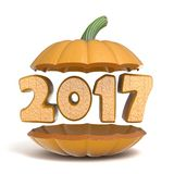 Halloween pumpkin 2017 3D. Render illustration isolated on white background Stock Photo