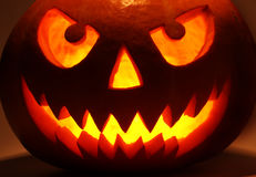 Halloween pumpkin in dark Royalty Free Stock Photos