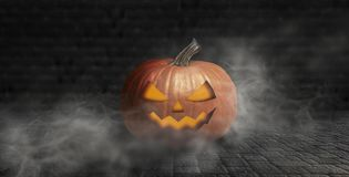 Halloween pumpkin on a dark background with smoke and fog at night stock photos