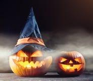 Halloween pumpkin in the dark Stock Image