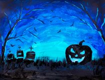 Halloween pumpkin, dark graves and bats in blue Forest painting, illustration. Halloween background. Stock Photography