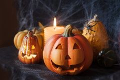 Halloween pumpkin decor with candle and spiders. Halloween card stock image