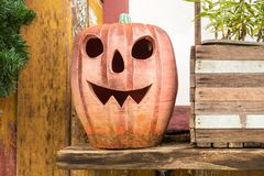 Halloween pumpkin decorated royalty free stock images