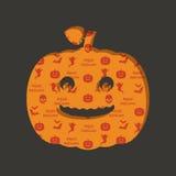 Halloween pumpkin decoration. Halloween decoration with cut out pumpkin on seamless pattern background Stock Photo
