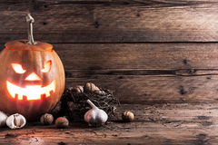 Halloween pumpkin with decoration Royalty Free Stock Photo