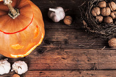 Halloween pumpkin with decoration Stock Images