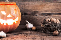 Halloween pumpkin with decoration Stock Image
