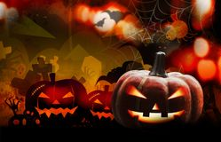 Halloween pumpkin design with copy space. For design work Royalty Free Stock Image