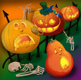 Halloween pumpkin. With a different look.Raster illustration Stock Photos