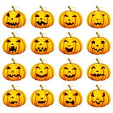 Halloween Pumpkin in different Mood Stock Images