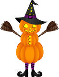 Halloween pumpkin doll with witch hat Stock Image