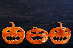 Halloween pumpkin of dough on the table Royalty Free Stock Photos