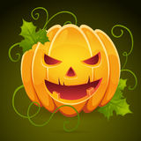 A Halloween pumpkin with evil smile card  Stock Photos