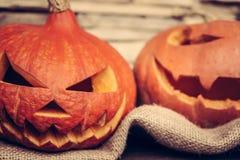 Halloween pumpkin with evil smile Stock Photo