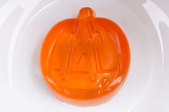 Halloween pumpkin face made of jelly Royalty Free Stock Photo