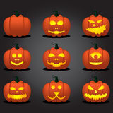 Halloween Pumpkin Face Set. Stock Photo