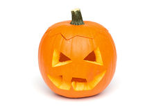 Halloween - Pumpkin Face on White Background Stock Photo