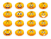 Halloween pumpkin faces with emotions isolated Royalty Free Stock Photos