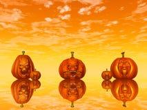 Halloween pumpkin faces - 3D render. Halloween pumpkin faces by orange sunset - 3D render royalty free illustration