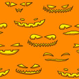 Halloween pumpkin faces pattern Stock Image