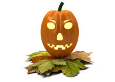Halloween pumpkin with fallen leaves isolated on Royalty Free Stock Photo