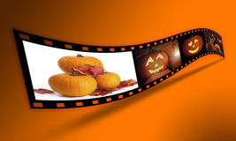 Halloween Pumpkin Film Strip. Filmstrip of Halloween related images - clip path included for easy cutout of filmstrip (where supported by agency royalty free stock photo