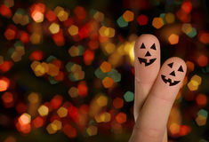 Halloween pumpkin Finger hug Royalty Free Stock Photo