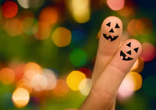 Halloween pumpkin finger hug Stock Photos