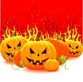Halloween pumpkin with fire Stock Photography