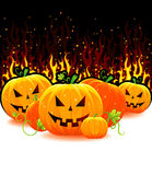Halloween pumpkin with fire Stock Images