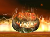 Halloween pumpkin in fire - 3D render Royalty Free Stock Photo