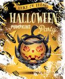 Halloween Pumpkin with Fire Flames on Armor. Vector Illustration. Halloween Party Flyer Royalty Free Stock Image