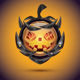 Halloween Pumpkin with Fire Flames on Armor. 3d Emoji Smiley. Stock Photos