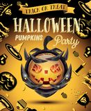 Halloween Party Flyer with Pumpkin on Armor. Halloween Pumpkin with Fire Flames on Armor. Vector Illustration. Halloween Party Flyer Royalty Free Stock Photo