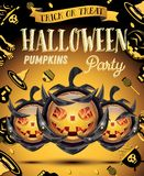 Halloween Pumpkin with Fire Flames on Armor. Vector Illustration. Halloween Party Flyer Royalty Free Stock Photos