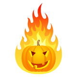 Halloween pumpkin on fire Royalty Free Stock Photo