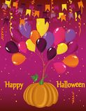 Halloween. Pumpkin flies on balloons. Confetti and garland. Of flags. Greeting card or invitation to a party. Vector Stock Image