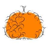 Halloween pumpkin, floral ornament. Stock Photo