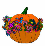 Halloween pumpkin with flowers on white background Royalty Free Stock Images