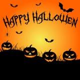 Halloween Pumpkin, flying bats Stock Photography