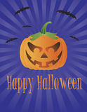 Halloween Pumpkin with Flying Bats Illustration Royalty Free Stock Photo