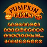 Halloween Pumpkin Font. In the EPS file, each element is grouped separately. Clipping paths included in additional jpg format Royalty Free Stock Photo