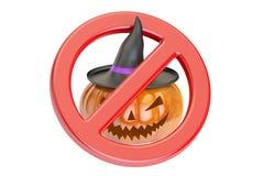 Halloween Pumpkin with Forbidden Sign, 3D rendering Royalty Free Stock Photo