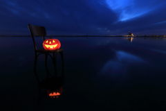 Halloween pumpkin. In the Forest Royalty Free Stock Image