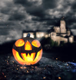 Halloween pumpkin in a forest at night Royalty Free Stock Photography