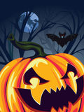Halloween Pumpkin in the Forest Royalty Free Stock Images