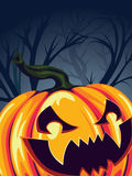 Halloween Pumpkin in the Forest Stock Images