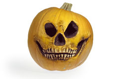 Halloween pumpkin in the form of a skull Royalty Free Stock Photo