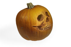 Halloween pumpkin in the form of a skull Royalty Free Stock Images