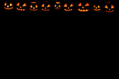 Halloween pumpkin frame set head jack. On black background Stock Images